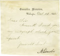 "Autographs:U.S. Presidents, Abraham Lincoln Letter Signed as President L.S. ""A. Lincoln""on Executive Mansion letterhead, 1p., trimmed to 5"" x 4.5"",..."
