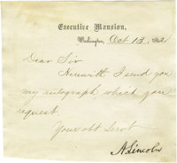 """Abraham Lincoln Letter Signed as President L.S. """"A. Lincoln"""" on Executive Mansion letterhead, 1p., trimmed to..."""