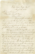 "Autographs:Celebrities, Exceptional Brigham Young Autograph Letter Signed A.L.S. ""Brigham Young"", 2 pp., 5"" x 7.75"", Salt Lake City, Utah Terri..."