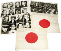 """Tokyo Trials Two 14"""" x 11"""" Japanese flags, each signed by 12 defendants at the International Military Tribunal..."""