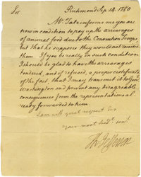 """Thomas Jefferson 1780 Letter Signed """"Th. Jefferson"""" as governor of Virginia, mentions """"Genl Washington.&q..."""