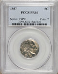 Proof Buffalo Nickels: , 1937 5C PR66 PCGS. PCGS Population (709/375). NGC Census:(435/313). Mintage: 5,769. Numismedia Wsl. Price: $1,850.(#3996)...