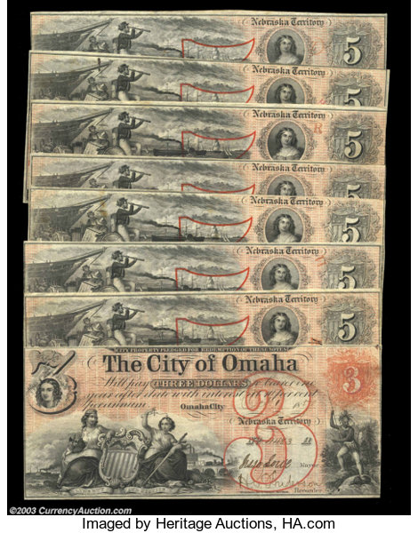 Omaha, NE - The City of Omaha $3 Oct  1, 1857, (7) $5 1857