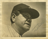 Babe Ruth Signed Photograph. No serious autograph collection can be considered complete without a Babe Ruth signature in...