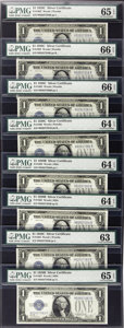 Small Size:Silver Certificates, Fr. 1603/Fr.1602 $1 1928C/1928B Silver Certificates. Eight Consecutive Examples. Reverse Changeover Pair.. ... (Total: 8 notes)