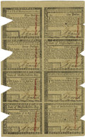 Colonial Notes:Massachusetts, Massachusetts May 5, 1780 Uncut Sheet of Eight $5, $1, $7, $2, $8,$3,$20, $4 Very Fine-Extremely Fine....