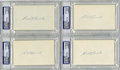 Autographs:Index Cards, Edd Roush Signed Index Cards, PSA-Graded Group Lot of 4. During the Dead Ball Era he was the best hitter in his National Le...