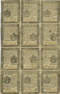 Colonial Notes:Pennsylvania, Pennsylvania April 25, 1776 Uncut Half-Sheet of Twelve 3d, 4d, 6d and 9d Extremely Fine-About Uncirculated....