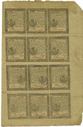 Colonial Notes:Pennsylvania, Pennsylvania April 10, 1777 Uncut Sheet of Twelve 3d, 4d, 6p, 9pExtremely Fine....