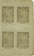 Colonial Notes:Rhode Island, Rhode Island May 1786 Uncut Sheet of Four £3, 40s, 20s, 30s AboutNew....