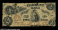 Obsoletes By State:Virginia, Fairmont, VA- The Fairmont Bank $2 Sept. 26, 1861 G8a ...