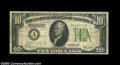 Error Notes:Inverted Reverses, Fr. 2002-A $10 1928B Federal Reserve Note. Fine-Very Fine. ...