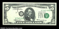 Error Notes:Shifted Third Printing, Fr. 1969-G $5 1969 Federal Reserve Note. Crisp Uncirculated.