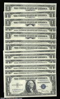 Small Size:Silver Certificates, Fr. 1614 $1 1935E Silver Certificates. 13 Three Digit Serial ... (13 notes)