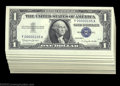 Small Size:Silver Certificates, Fr. 1621 $1 1957B Silver Certificates. 54 Three Digit Serial ... (54 notes)