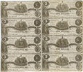 Confederate Notes:1861 Issues, T36 $5 1861 Uncut Sheet of Eight.. ...