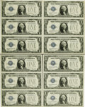 Small Size:Silver Certificates, Fr. 1602 $1 1928B Silver Certificates. Partially Cut Sheet of 12. Choice Crisp Uncirculated.. ... (Total: 3 items)