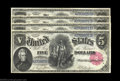 Large Size:Legal Tender Notes, Fr. 80 $5 1880 Legal Tender Cut Sheet of Four Gem New. ... (4notes)