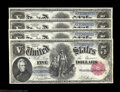 Large Size:Legal Tender Notes, Fr. 80 $5 1880 Legal Tender Cut Sheet of Four Gem New. One ... (4notes)