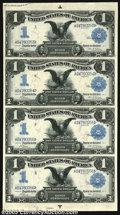 Large Size:Silver Certificates, Fr. 226a $1 1899 Silver Certificate Uncut Sheet of Four ...