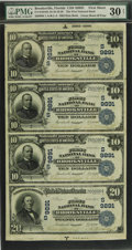 Brooksville, FL - $10-$10-$10-$20 1902 Date Back Fr. 619/645 The First NB Ch. # (S)9891 Uncut Sheet