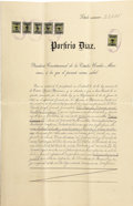 Autographs:Non-American, Porfirio Diaz, Lot of Three Documents Signed.... (Total: 5 Items)