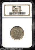 Seated Quarters: , 1875 MS62 NGC. ...