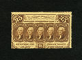 Fractional Currency:First Issue, Fr. 1280 25c First Issue. Light folds are found on this scarce no monogram perforated variety. The top row is perforated jus...