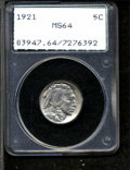 Buffalo Nickels: , 1921 5C MS64 PCGS. Boldly struck and satiny, with minor ...