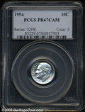 Proof Roosevelt Dimes: , 1954 10C PR67 Cameo PCGS. Brilliant throughout with a ...
