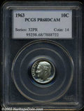 Proof Roosevelt Dimes: , 1963 10C PR68 Deep Cameo PCGS. An exceptionally pleasing, ...