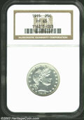 Proof Barber Quarters: , 1915 25C PR63 NGC. Fully struck, brilliant, and near-...
