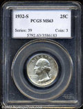 Washington Quarters: , 1932-S 25C MS63 PCGS. Well struck and highly lustrous, ...