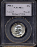 Washington Quarters: , 1940-D 25C MS66 PCGS. FS-12.5. The rightmost letters in ...