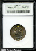 Washington Quarters: , 1949-D 25C MS66 ANACS. Outrageously toned with vivid ...