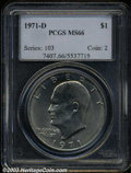Eisenhower Dollars: , 1971-D $1 MS66 PCGS. This lustrous Gem has an above ...