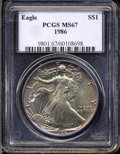 Modern Bullion Coins: , 1986 $1 Silver Eagle MS67 PCGS. A beautifully toned ...