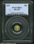 California Fractional Gold: , 1855 50C Liberty Round 50 Cents, BG-432, R.5, MS61 PCGS. ...