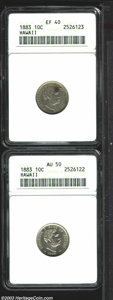 Coins of Hawaii: , 1883 10C Hawaii Ten Cents XF40 ANACS, mostly brilliant ... (2coins)