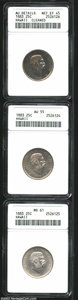 Coins of Hawaii: , 1883 25C Hawaii Quarter--Cleaned--ANACS, AU Details, Net ... (3 coins)