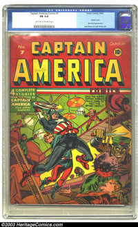 Captain America Comics #7 (Timely, 1941) CGC FN 6.0 Light tan to off-white pages. This issue features a classic bondage...
