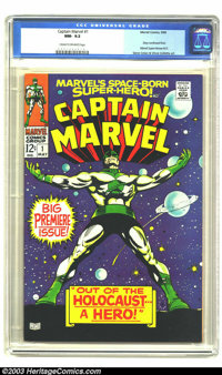 Captain Marvel #1 (Marvel, 1968) CGC NM- 9.2 Cream to off-white pages. Gene Colan art. Story continued from Marvel Super...