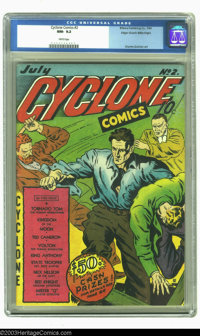 Cyclone Comics #2 Mile High pedigree (Bilbara, 1940) CGC NM- 9.2 White pages. A rich multi-colored cover invites the rea...