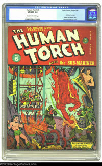 The Human Torch #6 (Timely, 1942) CGC VF/NM 9.0 Cream to off-white pages. Alex Schomburg breaks out the hooded baddies...