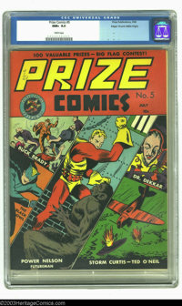 Prize Comics #5 Mile High pedigree (Prize, 1940) CGC NM+ 9.6 White pages. Outstanding split level cover featuring: Buck...