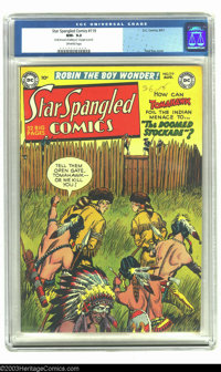 "Star Spangled Comics #119 (DC, 1951) CGC NM- 9.2 Off-white pages. CGC notes: ""Small amount of writing on first page..."
