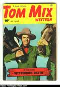 """Golden Age (1938-1955):Western, Tom Mix Western #34 (Fawcett, 1950) Condition: VG+. Tom in""""Mysterious Death!"""". Overstreet 2003 VG 4.0 value = $26...."""