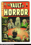 Golden Age (1938-1955):Horror, Vault of Horror #25 (EC, 1952) Condition: VG+. Jack Kamen artwork.A seance raises an unwanted visitor on this Johnny Craig ...