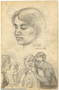 """Original Comic Art:Sketches, Robert Crumb - Original Sketch """"Susan"""" (1961). Lovely two-sided sketchbook page from the R. Crumb's earliest days. One side ..."""