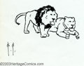 Original Comic Art:Sketches, Frank Frazetta - Original Sketches, Two Lions (undated). Very cute little sketch of two powerful-looking lions from the free...